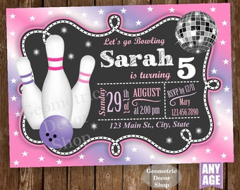 Bowling Party / Bowling Birthday Invitation / Bowling Invite / Girl Invites / Purple / Pink / Printable Digital BDBW1