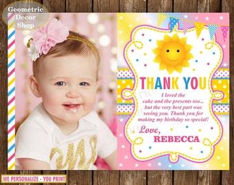 Sunshine Thank you card Party Sunshine Birthday You are my Sunshine Pink Yellow Digital PRINTABLE Photo Photograph THS1