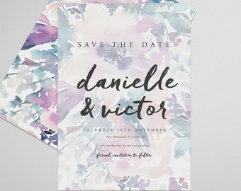 Floral Save the Date Printable, Petal, Save the Date Invitation, Wedding Invite, Engagement Announcement, Engagement Invitation