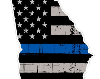 Georgia State (V11) Thin Blue Line Vinyl Decal Sticker Car/Truck Laptop/Netbook Window
