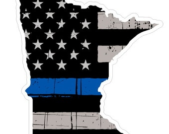 Minnesota State (V24) Thin Blue Line Vinyl Decal Sticker Car/Truck Laptop/Netbook Window