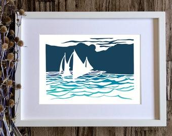 Art prints, Sailing boat print, Coastal decor, Papercut print, Ocean print, Seaside art, Blue wall art, Sailing art, Ocean wall art, Sea art