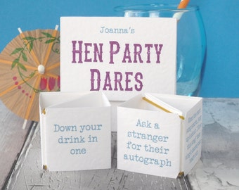 Hen Party Dares - Dares for a Hen Night - Hen Night Dares - Hen Do Dares - Dares for Hen Weekend - Hen Party Game