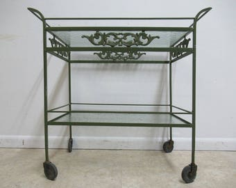 Vintage Mid Century Outdoor Patio Porch T Cart Server Bar Liquor Cabinet