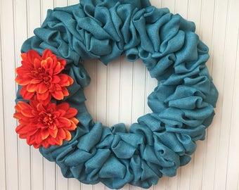 Turquoise wreath, turquoise burlap wreath, aqua blue burlap wreath with flowers, spring wreath, summer wreath, burlap wreath, floral wreath