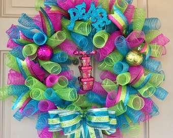 Christmas Wreath with Pastel Colored Mesh Curls and Christmas Ornaments