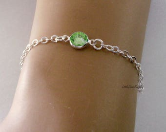 August 925 STERLING Silver Personalized  Birthstone BRACELET/ ANKLET - Birthday - Wedding Gift - Dainty Minimalist Jewelry   Under 30 40 usa