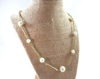 Long Gold Twist Necklace with Pearls, Vintage Avon Gold Pearl Necklace
