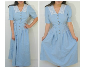 50% OFF everything in shop--- Vintage 60s/80s Style Button Up Light Blue Lace Collared Shoulder Padded Dress