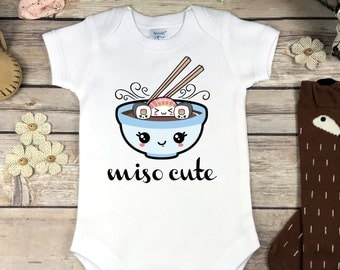 Miso Cute Onesie® Bodysuit or Infant T-Shirt Sushi Baby Shower Gift Baby Girl or Boy Clothes Funny Sushi Miso Soup Onsie Pregnancy Reveal