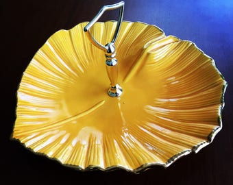 Vintage Mid-century California Pottery Orange Yellow Serving Tidbit Tray Appetizers Hors d'Ouvres Small Bites Candy Dish Platter with Handle
