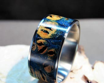 Double dyed Blue and Yellow Maple Burl and Titanium Ring, Dyed wood ring, Blue Wood ring, Custom dyed ring, Maple Burl inlay Ring