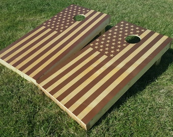 Two-Tone American Flag Cornhole Game