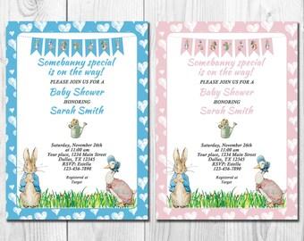Peter Rabbit Baby Shower Invitation, Beatrix Potter Shower Invite, Rabbit  Baby Shower, Boy