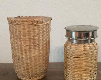 Wicker Cup and Jar Bath Set