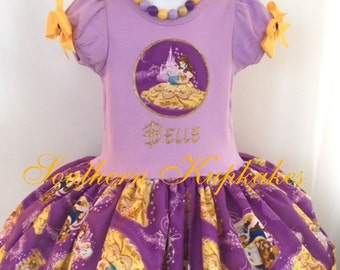 Girls Belle Beauty and the Beast Disney Inspired 2pc. Twirl Dress Custom All Sizes Available Boutique Pageant Birthday Party World Costume