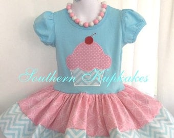 GoRGeouS CUPCAKE With CHERRY Twirl Dress 3 piece Set Birthday Custom BOUTIQUE Pageant Party All Sizes 12mo 18mo 24mo 3t 4t 5 Pink White Aqua