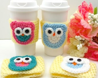 Yellow Crochet Cup Cozy with Owl:  Coffee Tea Sleeve (Pink, Teal, White, Blue)    [078]