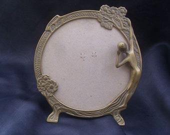 A Beautiful Vintage Brass Art Nouveau Style photo frame/mirror