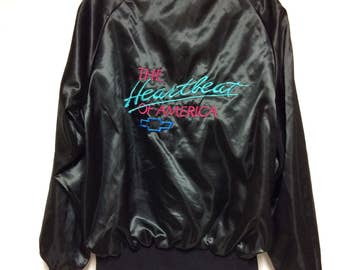 Vintage Chevy Mens Large Black Jacket, The Heartbeat of America Coat, Made in USA