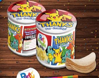 Pokemon Pringles Labels and Toppers, Pokemon Printable DIY Labels, Pokemon Party, Pikachu Party Favors, Instant Download, PKI-021-01