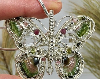 Large Butterfly Pendant - Watermelon Tourmaline and NY Herkimer Diamond - Sterling Silver Butterfly Wire Wrap - Herkimer Diamond Necklace