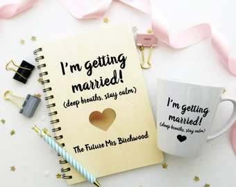 Wedding planner notebook with matching mug. Personalised bride to be hen party, engagement present. I'm getting married design.