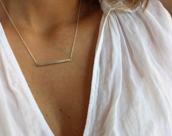 Horizontal bar necklace in sterling silver, gold bar necklace