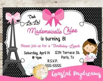Paris Party Invitation, Girls Birthday, Paris Party, Paris Invitation, Paris Party Printables