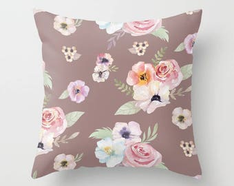Throw Pillow - Watercolor Floral I - Cocoa Brown Pink - Square Cover 16x16 18x18 20x20 24x24 - Insert Optional