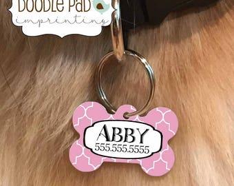 Quatrefoil Dog Tag, Pet ID Tag, You Pick the Color