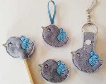 Machine embroidery designs pack FELTIES cute bird - 4 models - How to make it INCLUDE - instant download