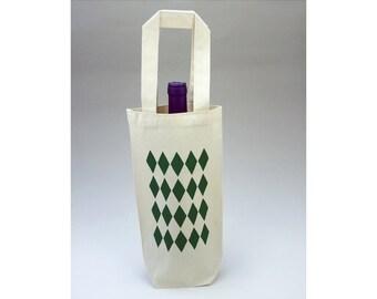 Reusable Gift Bag,Green Harlequin, Christmas, Wine Gift Bag, Small Canvas Bag