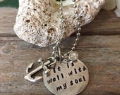 "Charm Necklace, Pewter Charm Handstamped with ""It Is Well With My Soul"", Embellished with Anchor Charm and Crystal Charm, 20"" Ball Chain"