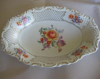 Vintage Schumann Bavarian (West Germany) Gold Rimmed Platter with Flowers