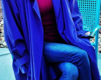 "NEIMAN MARCUS Coat Womens Size 14 Purple Violet ""Duster"" Open Front Outer Wear Waterproof Trench Coat Shoulder Pads, Street Wear, Vintage"