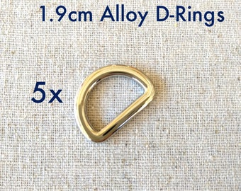 5x 1.9cm Flat Alloy Shiny Nickel (Silver) D-Rings. Australian Seller. Fast shipping.
