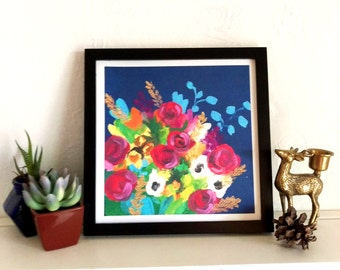 Acrylic Floral Print with Navy Blue Background 8 x 8