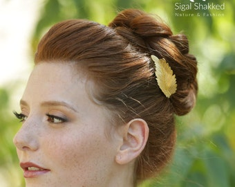 Gold Hair Stick, Gold Hair Clip, Leaf Hair Stick, Gold Leaf Hair Pin, Bun Stick, Bridesmaid Accessory, Bridal Hair Pin, Wedding Hair Clip
