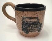 Pottery Mug, Jeep Mug, Off Road Mug, Coffee Mug, Tea Cup, Coffee Cup, Handmade Mug, Wheel Thrown Pottery, Hand Painted Mug, Pottery Gift