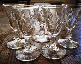Vintage Mid-Century Libbey Glass Crystal Stemware Colonial Heritage Pattern Cordial Glass