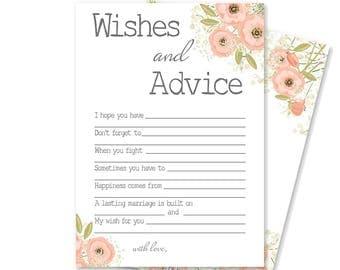 Rustic Bridal Shower Decorations | Bridal Shower Game | Printable Bridal Advice Card | Pink Floral Bridal Shower | Emmelyn Collection