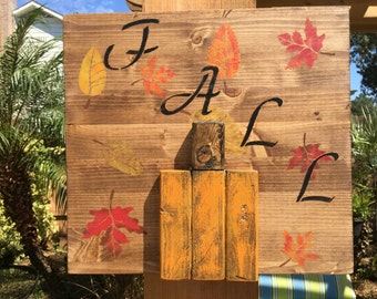 Fall Pumpkin Rustic Wood Sign