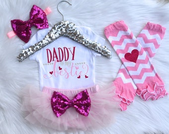 Daddy Is my Bestie Father's Day Outfit, Baby Girl Take Home Outfit, Newborn Outfit, Coming Home Outfit. Baby Bloomer, Leg Warmer, Headband