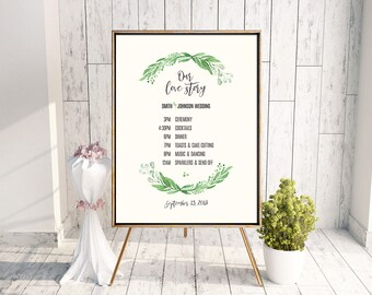 Personalized Printable Greenery Schedule Poster for Wedding
