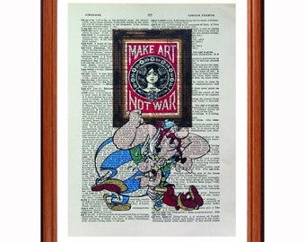 Asterix and Obelix vs Obey - dictionary art print home decor present gift - Shepard Fairey