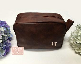 Groomsmen Gift Wedding Dark Brown Shaving Bag Personalized Leather Dopp Kit Groom Travel Toiletry Husband Father Brother Boyfriend