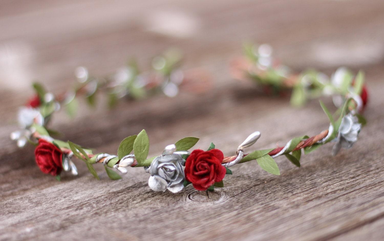 Hair accessories silver flower crown headband silver and red flower crown garland flower girl headpiece winter head wreath izmirmasajfo