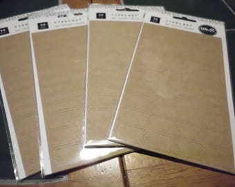 """4 New Packs We R Memory Keepers Typecast Tags 34 Pc Each Kraft Colored 1.25"""" - 2 and 3/16"""" 9 Styles Scrapbook Gifts Cards"""