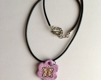 Handmade lilac flower shaped necklace with pattern detail